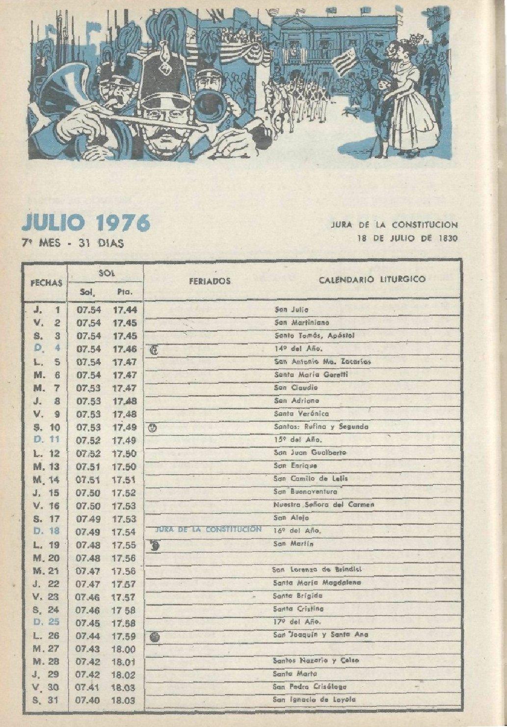 Calendario Julio 1976.Bse 1976
